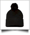 "12"" Pom Pom Knit Cap Embroidery Blanks - BLACK"