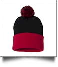"12"" Pom Pom Knit Cap Embroidery Blanks - BLACK/RED"