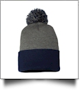 "12"" Pom Pom Knit Cap Embroidery Blanks - DARK HEATHER GRAY/NAVY"