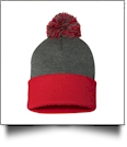 "12"" Pom Pom Knit Cap Embroidery Blanks - DARK HEATHER GRAY/RED"