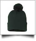 "12"" Pom Pom Knit Cap Embroidery Blanks - FOREST"