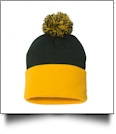 "12"" Pom Pom Knit Cap Embroidery Blanks - FOREST/GOLD"