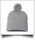 "12"" Pom Pom Knit Cap Embroidery Blanks - HEATHER GRAY"