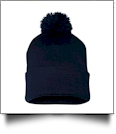 "12"" Pom Pom Knit Cap Embroidery Blanks - NAVY"