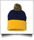 "12"" Pom Pom Knit Cap Embroidery Blanks - NAVY/GOLD"