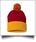 "12"" Pom Pom Knit Cap Embroidery Blanks - RED/GOLD"