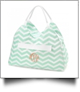 Beach and Pool Bag Embroidery Blanks - MINT CHEVRON