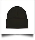 "Bayside Made in the USA 12"" Solid Knit Beanie Embroidery Blanks - BLACK"