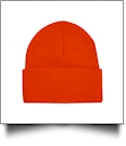"Bayside Made in the USA 12"" Solid Knit Beanie Embroidery Blanks - BRIGHT ORANGE"