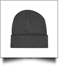 "Bayside Made in the USA 12"" Solid Knit Beanie Embroidery Blanks - CHARCOAL"
