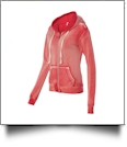 MV Sport Ladies' Angel Fleece Sanded Full-Zip Hooded Sweatshirt Jacket Embroidery Blanks - RED