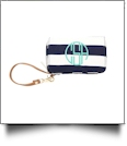 Sawyer Wristlet Embroidery Blank - NAVY STRIPE - CLOSEOUT