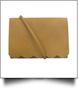 The Coral Palms® Skylar Scalloped Crossbody Convertible Clutch Purse - BUTTERSCOTCH