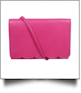 The Coral Palms® Skylar Scalloped Crossbody Convertible Clutch Purse - HOT PINK