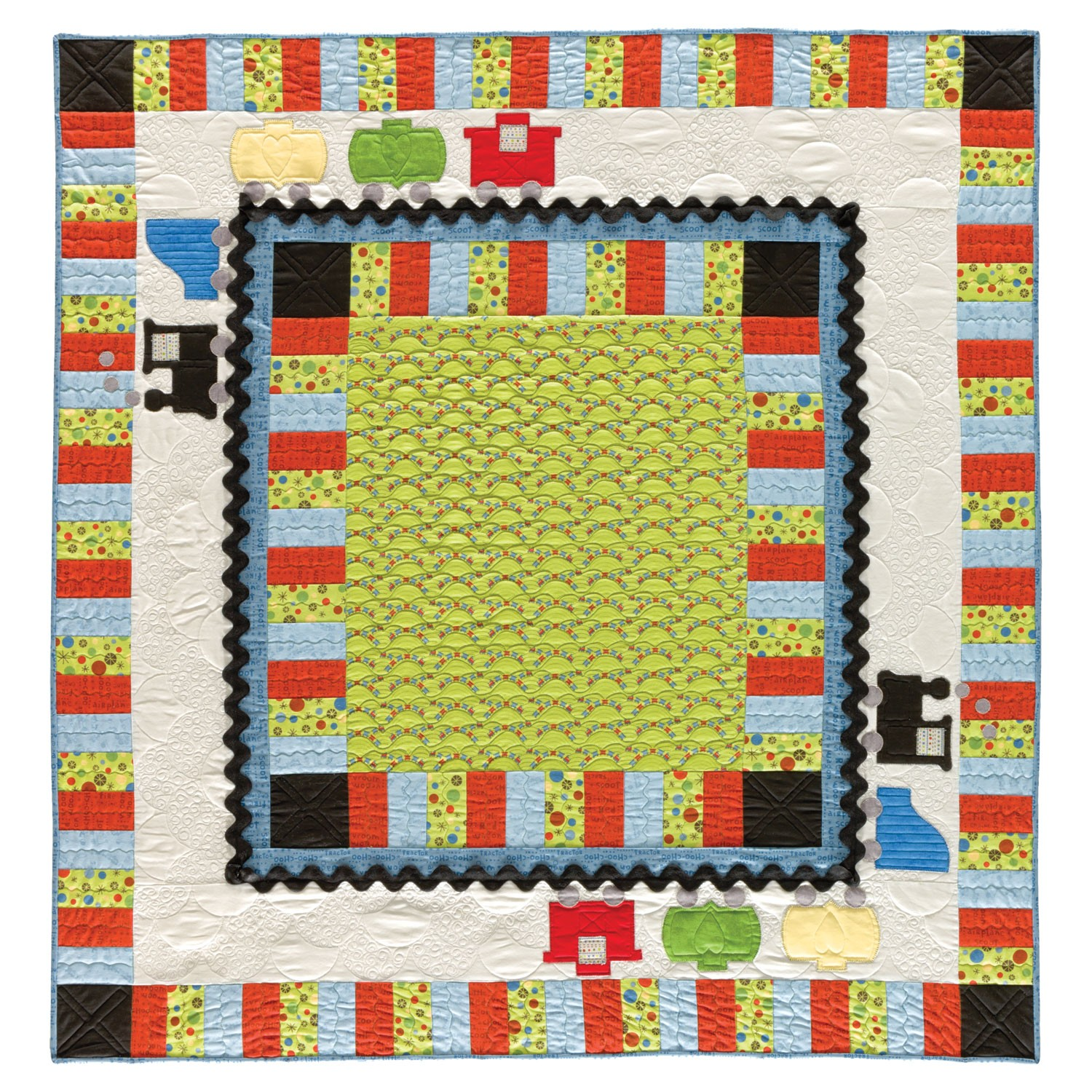 Accuquilt go train quilt die 55367 for Fabric with trains pattern
