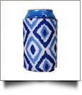 The Coral Palms� 12oz Neoprene Can Coolie - Blue Ikat Ogee Collection - CLOSEOUT
