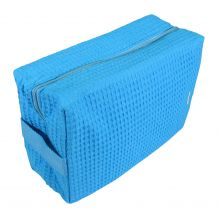 Large Cotton Waffle Cosmetic Bag Embroidery Blanks - TROPICAL BLUE