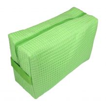 Large Cotton Waffle Cosmetic Bag Embroidery Blanks - LIME