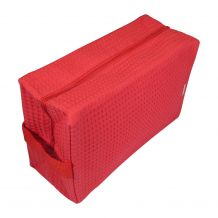 Large Cotton Waffle Cosmetic Bag Embroidery Blanks - RED