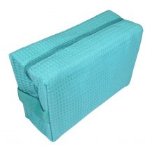Large Cotton Waffle Cosmetic Bag Embroidery Blanks - CARIBBEAN GREEN