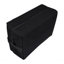 Large Cotton Waffle Cosmetic Bag Embroidery Blanks - BLACK