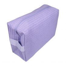 Large Cotton Waffle Cosmetic Bag Embroidery Blanks - LAVENDER