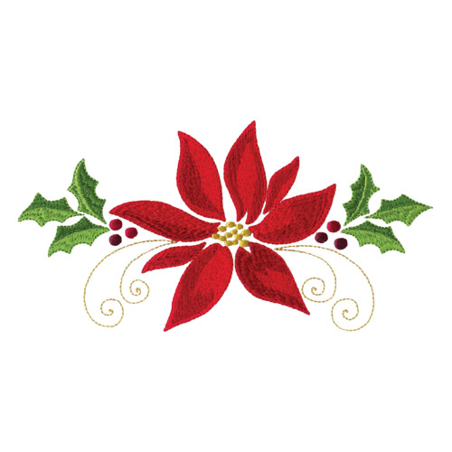 Poinsettias And Pine Boughs Embroidery Designs By Amazing On A