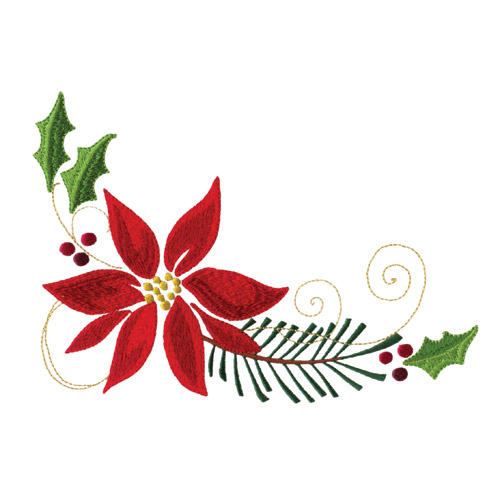 Poinsettias and pine boughs embroidery designs by amazing